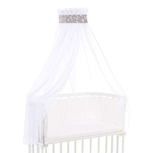 Ciel de lit babybay piqué avec ruban adapté aux modèles Original, Maxi, Boxspring, Comfort, Comfort Plus et Midi, taupe avec étoiles blanches