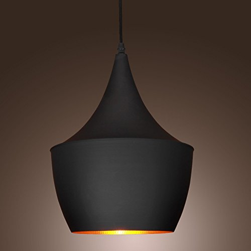 KJLARS moderno Lampadari a sospensione con paralume in nero metallo lampada