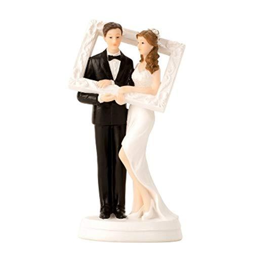 Melo Brautpaar, Hochzeitspaar   Tortenaufsatz, Tortenfigur, Dekofigur, Cake Topper Wedding Hochzeit Trauung Hochzeitstorte   Skulptur Dekofigur Tortenaufsatz   Brautpaar mit Bilderrahmen 18 cm