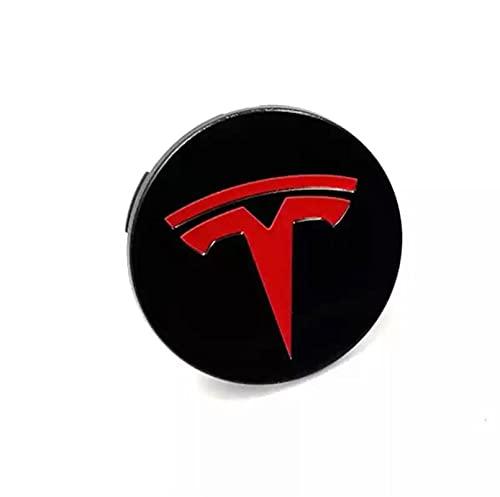 4pcs 56mm rueda de automóvil central central tapas logotipo insignia emblema ABDOMINALES Reemplace la cubierta del borde para TESLA MODELO 3 S X Y Revisión de accesorios para automóviles ( Color : B )