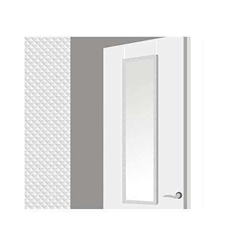 Espejo para Puerta Moderno, Blanco con diseño Geométrico, para Dormitorio, sin Agujeros (34,7cm X 1,5cm X 125cm) - Hogar y Más