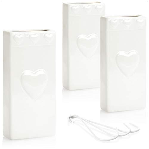 com-four® 3X Luftbefeuchter Heizung - Heizkörper Luftbefeuchter mit Herzmuster - Heizung Wasserverdunster aus Keramik - 320 ml (weiß - Herz)