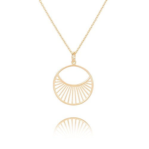 Pernille Corydon Halskette Damen Daylight Short Goldkette runder Kreis-Anhänger Sonne Ring Silber vergoldet Variable Länge 40-48 cm - N570g