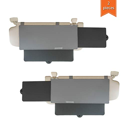 Car Visor Sunshade, WANPOOL Car Visor Anti-Glare Sunshade Extender for Front Seat Driver and Passenger - 2 Pieces (Gray)