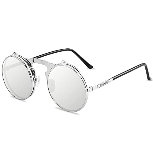 XINMAN Gafas De Sol De Metal Retro Steampunk Gafas De Sol con Tapa Tendencia Hombres Y Mujeres Gafas De Sol Redondas Marco Plateado Hoja De Plata