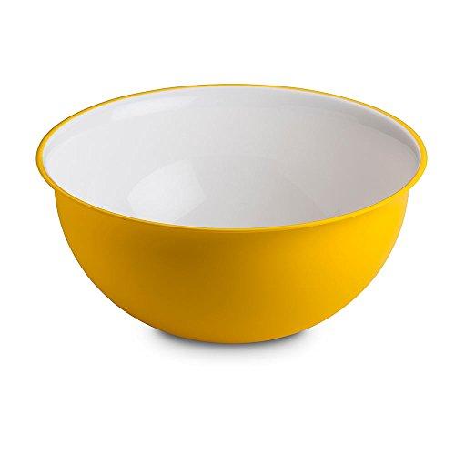 Omada Design Saladier 6,5 litres 32,5 x 15,5 cm, blanc à l'intérieur et coloré à l'extérieur, en plastique antibactérien et incassable, Ligne Sanaliving, Jaune