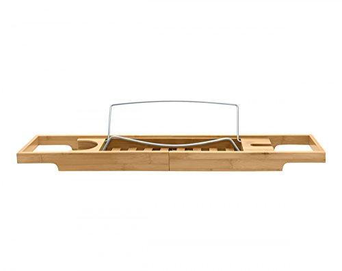 Nicol 9330500 Helge badkuiphouder met boekensteun, badplank met glashouder, uittrekbaar badrek