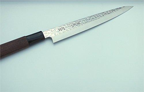 TOKYO design studio Sashimi-Messer mit Hammerschlag-Optik, Filetier-Messer, 210 mm Klingenlänge, rostfreier japanischer Messer-Stahl, beidseitig geschliffen, mit Holzgriff, Original Made in Japan