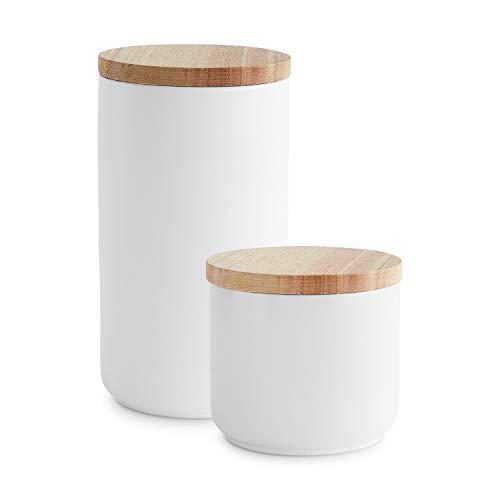 Keramik Vorratsdosen mit Holzdeckel Sweet Scandi, luftdichter Kautschukholz-Deckel, Aufbewahrungsdosen, Frischhaltedosen - Set 2-tlg.