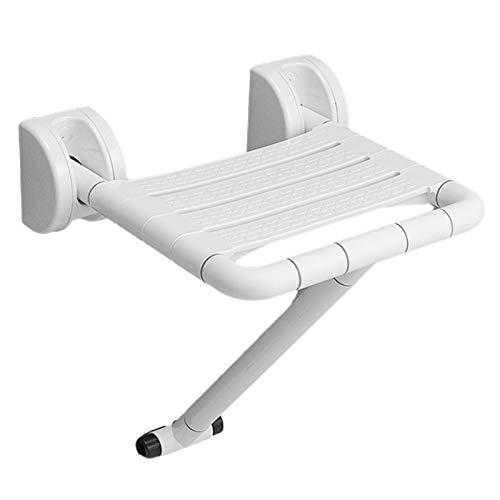 fuguzhu Wegklappbarer Duschhocker, Duschklappsitz Mit HöHenverstellbaren StüTzfüßEn | Design Deluxe Weiß | Wandmontage, Badestuhl Duschhocker Klappbarer Duschsitz (Bis 250 Kg Tragkraft)