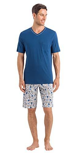 Hanro Herren Luca Short Sleeve Pajama Pyjama Set, Dunkelmeer, Medium