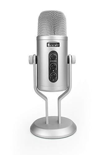 Amazon Basics - Micrófono de condensador profesional con USB, control de volumen y pantalla OLED, plateado