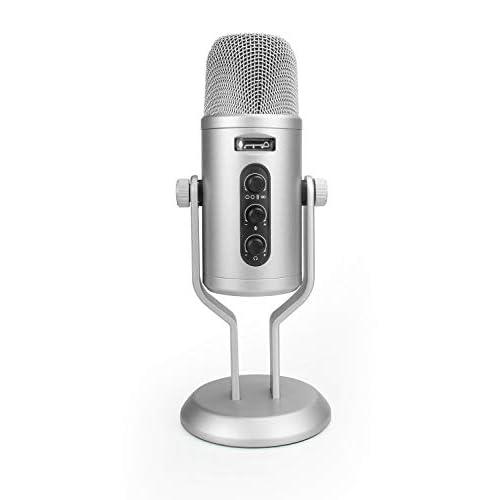 Amazon Basics - Microfono professionale USB a condensatore, con controllo del volume e display OLED, argento