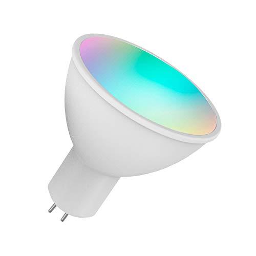 OWSOO Smart WiFi LED Birne RGB + W LED Birne V18 6W GU5.3, Dimmbares Licht, Telefon Fernbedienung, Kompatibel mit Alexa Google Home Tmall Genie Sprachsteuerung Glühbirne