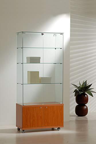 MHN brede showkast veiligheidsglas afsluitbaar kast glazen vitrine 2-deurs rolbaar 80 cm 40 cm diep