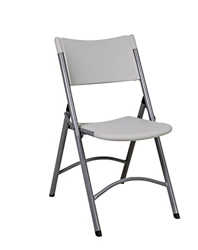 Office Star Resin Plastic Set of 4 Folding Chairs, Silver Accents