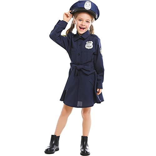 LALAmi Disfraz de policía para niña, disfraz de Halloween, disfraz de policía, cosplay, talla XS