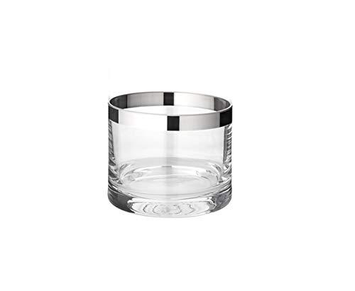 EDZARD Windlicht Molly, mundgeblasenes Kristallglas mit Platinrand, Höhe 6 cm, Durchmesser 7 cm, für Teelicht oder Maxi-Teelicht