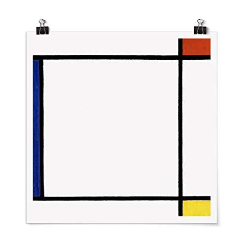 Bilderwelten Poster Wanddeko Piet Mondrian - Komposition III Quadrat, Matt 30 x 30cm