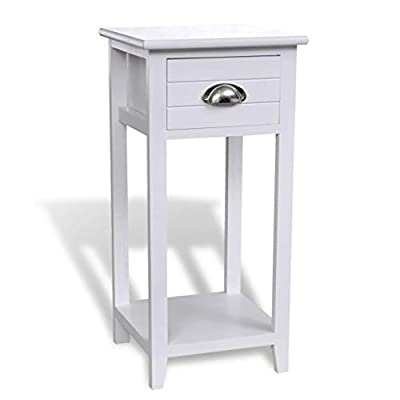 Material: madera de paulownia + madera contrachapada Color: blanco Tamaño total: 30 x 30 x 63 cm (Largo x Ancho x Alto) Tamaño del cajón: 21 x 26,5 x 12,2 cm (Largo x Ancho x Alto)