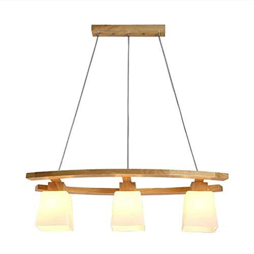LED Lampara Colgante de Madera y Vidrio 21W Lampara de Mesa de Comedor 3000K Luz Blanca Calida Lampara de techo rustica ajustable en altura para mesa de sala de comedor, E27 × 3 Luz