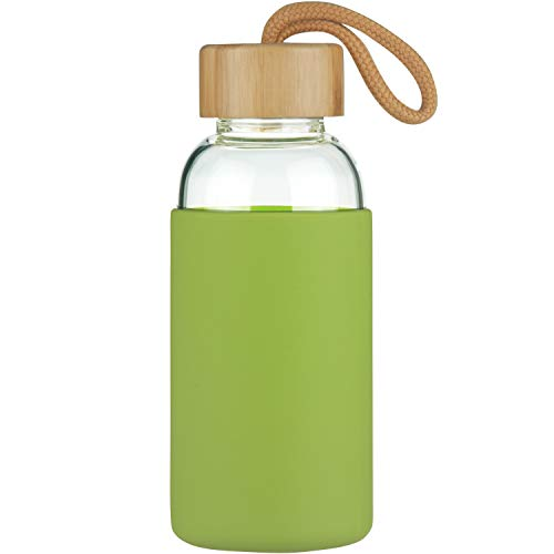 Justfwater Botella de Agua de Vidrio de Borosilicato Deportivo con Funda de Silicona y Tapa de Bambú a Prueba de Fugas 350ml