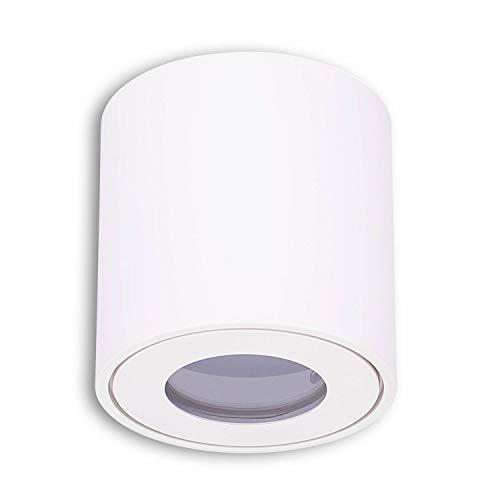 Aufbaurahmen weiß IP44 rund GU10 für Aufbauleuchte – Aufbaustrahler für Bad und Außenbereich 80x60mm – für LED und Halogen Leuchtmittel – Einbaustrahler, Rahmen