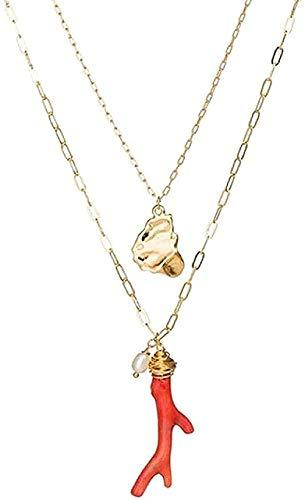 Charm Necklace Multi Layer Red Color Coral Seashell Collar de cadena larga con colgante Mujeres Retrato Carta Collar en capas Collar colgante Regalo para mujeres Hombres Niñas Niños