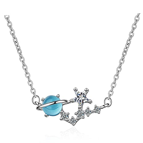 CHIY-GBC Collar de Estrella de Planeta de Moda Dulce de Plata de Ley 925 para Mujer Gargantilla de circonita de Cristal Azul Collares