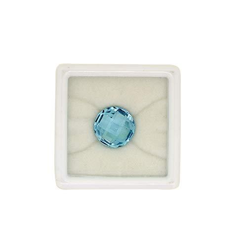 Neerupam Collection Topacio Azul Cielo Natural Grado AAA 14 mm Corte Redondo a Cuadros, Calibre, Piedras Preciosas Sueltas para Anillo, Pendientes, Colgante, fabricación de Joyas