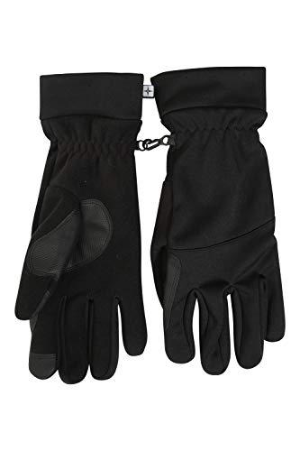 Mountain Warehouse Gants Softshell tactiles - Coupe-Vent, légers, faciles à empaqueter, Doigts tactiles, adhérence améliorée - pour Voyager Noir M/L
