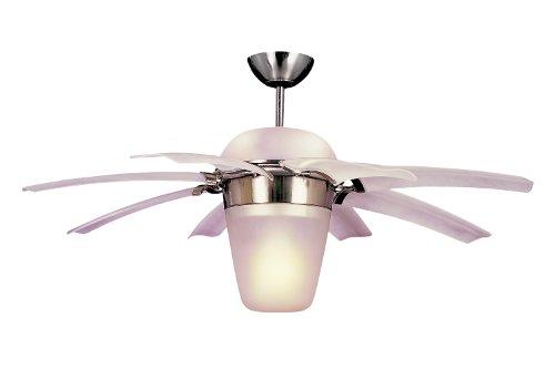 Monte Carlo 8ATR44BSD-L Downrod Mount, 8 Clear Frost Blades Ceiling fan with 100 watts light, Brushed Steel
