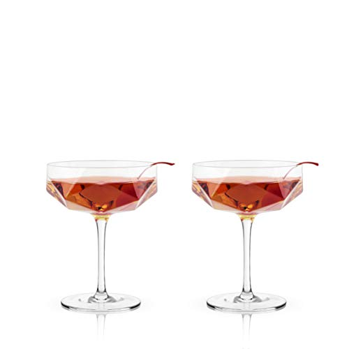 Viski Raye Faceted Crystal Coupe Glass