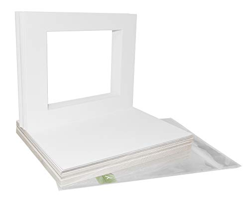 Golden State Art Acid Free, Pack of 25 11x14 White Picture Mats Mattes with White Core Bevel Cut for 8x10 Photo + Backing + Bags