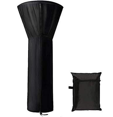 """Garden Patio Heater Cover, Stand-up Heater Cover Waterproof with Zipper Round Heater Covers for Outdoor Heater Protectors 89'' H x 33"""" D x 19"""" B (Black)"""