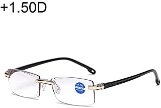 DSLSM + 1.50 D、縁なしアンチブルーレイブルーフィルムレンズ遠視メガネ (色 : ブラック)