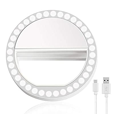 Selfie Ring Light, XINBAOHONG Rechargeable Portable Clip-on Selfie Fill Light with 36 LED for Smart Phone Photography, Camera Video, Girl Makes up (White-B, 36LED) by XINBAOHONG