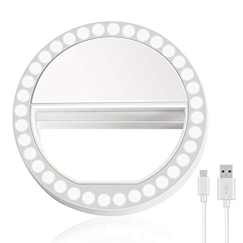 Selfie Ring Light, XINBAOHONG Rechargeable Portable Clip-on Selfie Fill Light with 36 LED for Smart Phone Photography, Camera Video, Girl Makes up (White-B, 36LED)