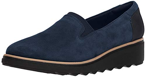 Clarks Women's Sharon Dolly Loafer, Navy Suede, 10 M US