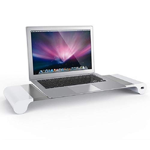 QSYY Universal Aluminum Desktop Monitor Stand, Laptop Stand, Non-Slip Desktop Riser with 4 USB Charger Ports, Suitable for iMac, MacBook, Etc,American regulations