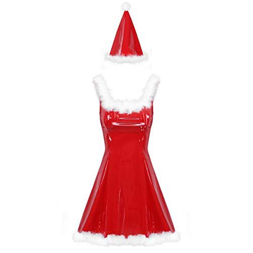 Alvivi Weihnachten Party Kleider Damen Weihnachtsmann Kostüm Lackleder Minikleid mit Weihanchtsmütze Sexy Weihnachtsfrau Kostüm Rot S