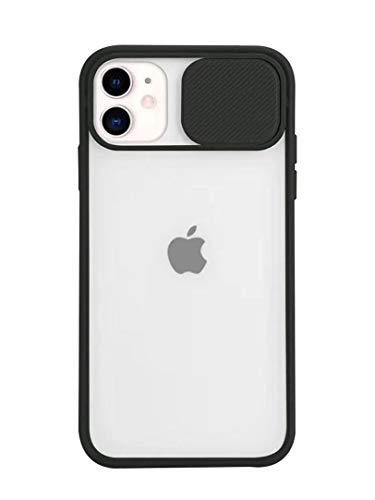 Tybiky Kameraschutz Hülle für iPhone 12 Stylisch Schutzhülle mit Kamera Objektivschutz Abdeckung Transluzent Matte Hart Handyhülle Kamera Slider Bumper Case Cover für iPhone 12, DunkelSchwarze