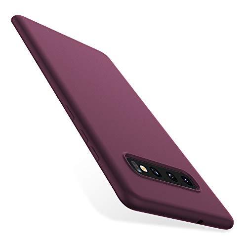 X-level Cover Samsung Galaxy S10 Silicone, Custodia Samsung Galaxy S10 Silicone Slim Cover Antiurto con Morbida Microfibra Fodera, Ultra Sottile Protettiva Cover per Samsung Galaxy S10, Vino Rosso