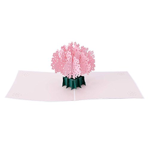 Greeting cards,Styleshop 3D Pop Up Cherry Blossom Greeting Card Christmas Birthday New Year Invitation