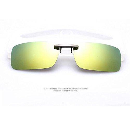 Xatan Polarisierte Sonnenbrille Clip Brillen Aufsatz Brillenträger für Unisex (Gelb mit Grün)