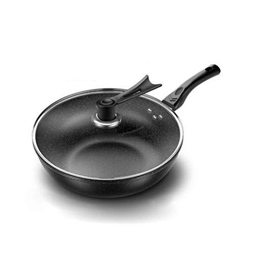 HJUYV-ERT Wok Antiadherente sin Humo de Aceite Estufa de Gas Cocina de inducción Sartén Universal de Hierro Fundido Ollas y sartenes Wok Sartén de Hierro Fundido