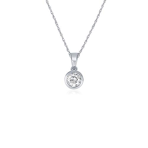 La Joya 1/4 Carat Total Weight (cttw) Certified Lab Grown Diamond Pendant Necklace - Solid 14k White Gold Bezel Setting With Adjustable Chain - GH Color And VS/SI Clarity Up Diamonds