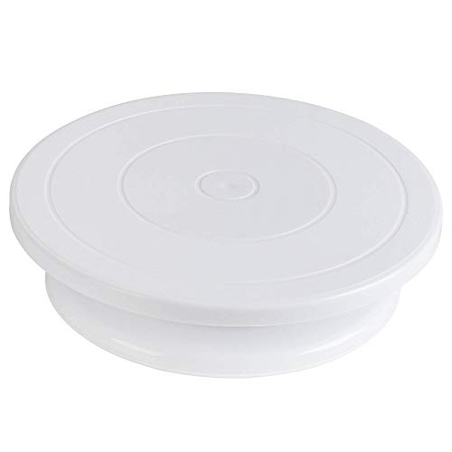 Puroma 11 Inch Rotating Cake Turntable White Cake Stand Spinner for Cake Decorations, Pastries, Cupcakes