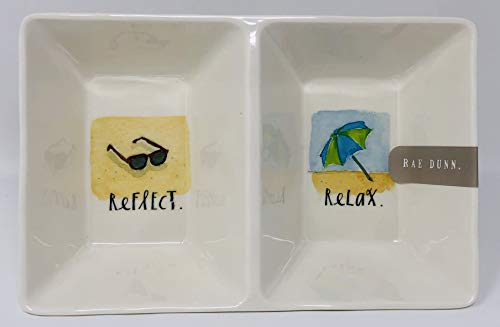 Rae Dunn Melamine Summer Reflect Relax Divided Condiment Relish Serving Dish