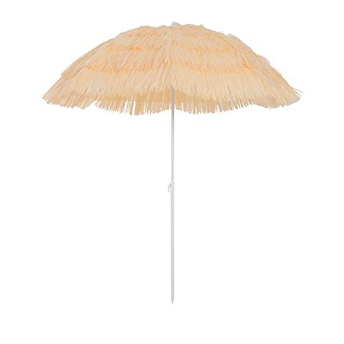 homcom 01-0025 Ombrellone da Giardino, Stile Hawaii, Colore Beige, Diametro: 160 cm